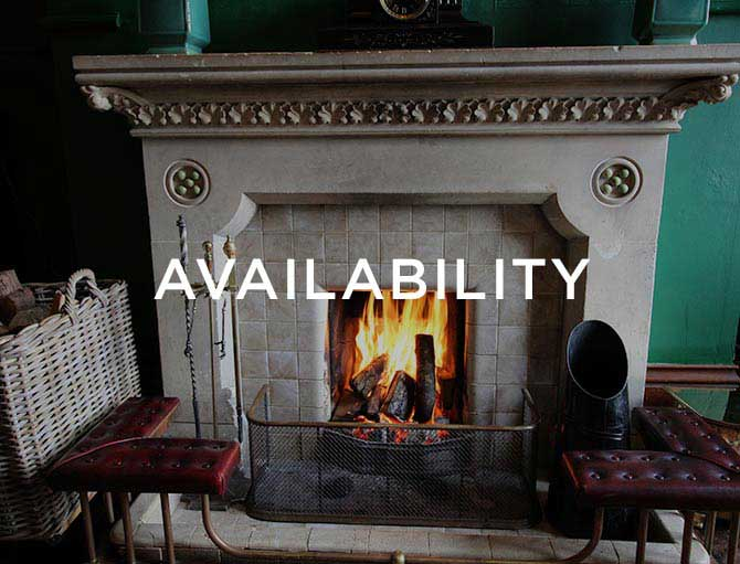 Fireplace with flames showing text saying availability