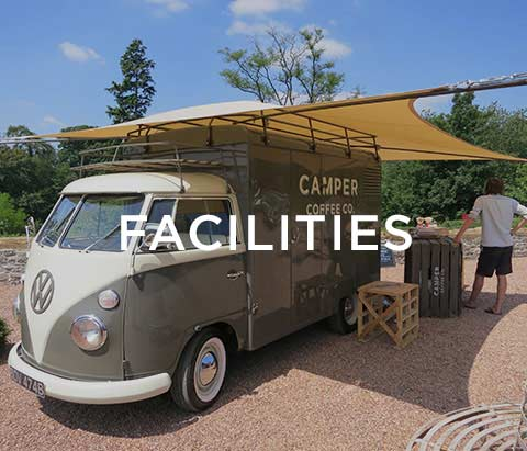 Camper Coffee Co van outside Huntsham with facilities text