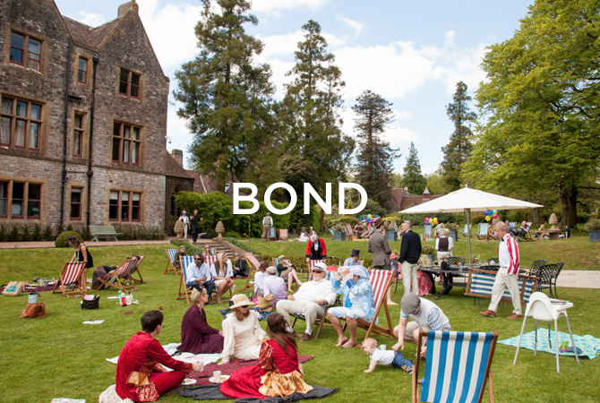 Huntsham garden party with bond text