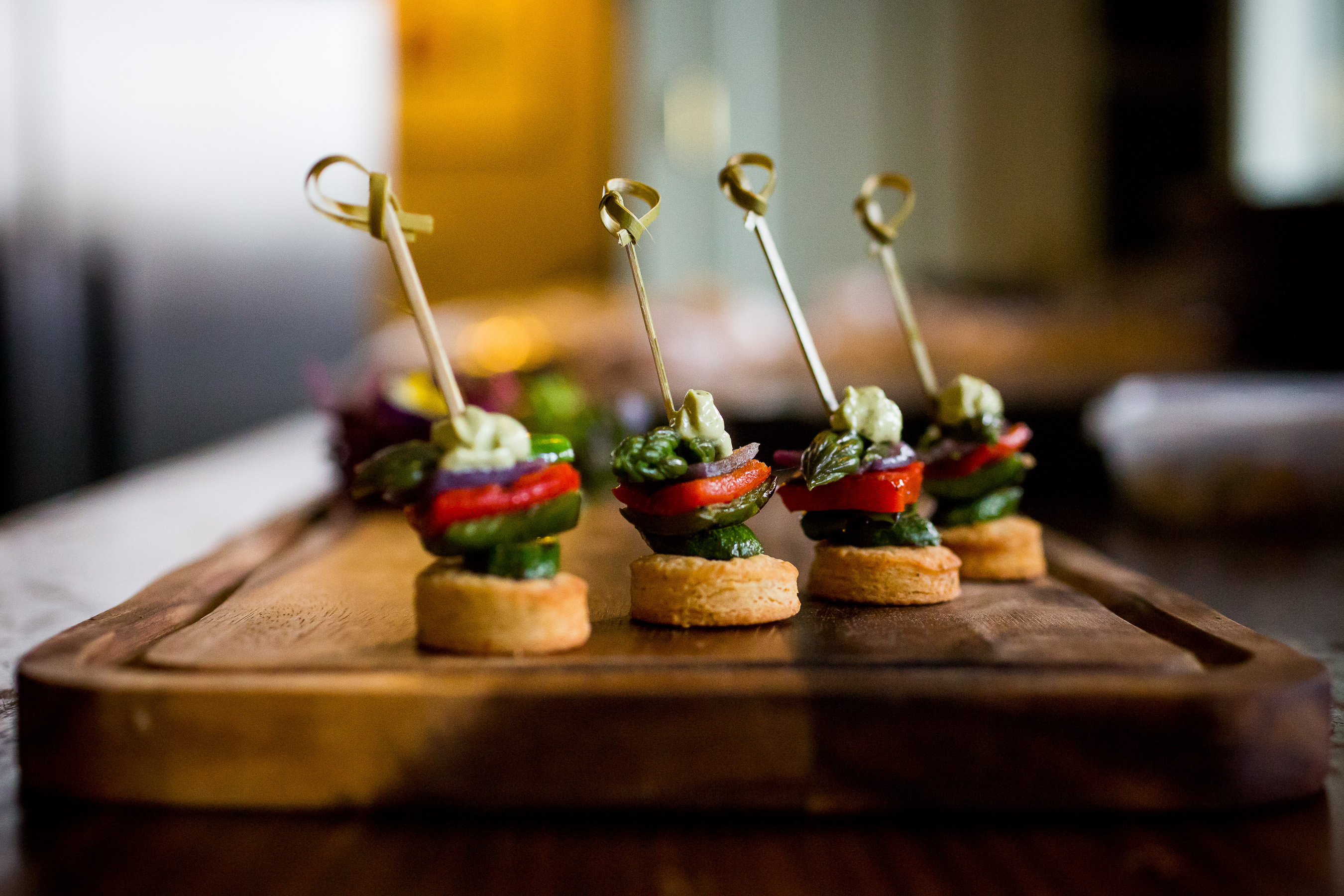canapes on a wooden board